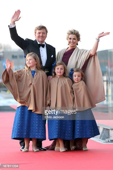 King Willem Alexander Queen Maxima and their daughters Princess CatharinaAmalia Princess Alexia and Princess Ariane of The Netherlands arrive at the...
