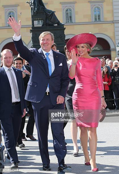 King WillemAlexander and his wife Queen Maxima of the Netherlands during a twoday visit in Bavaria to strengthen the relationship between the Bavaria...