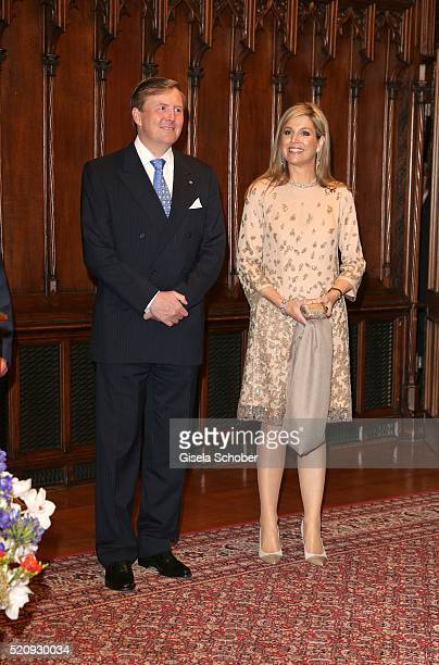 King WillemAlexander and his wife Queen Maxima of the Netherlands at 'townhall' during a twoday visit in Bavaria to strengthen the relationship...
