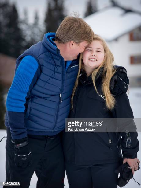 King WillemAlexander and Princess Amalia of The Netherlands pose for the media during their annual wintersport holidays on February 27 2017 in Lech...
