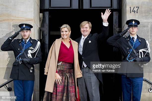 King WillemAlexander and Queen Maxima arrive at the new year reception for the diplomatic corps arrives at the royal palace on January 18 2017 in...