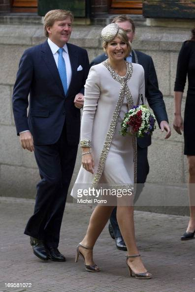 King WillemAlexander and Queen Maxima of The Netherlands arrive for a one day visit to Groningen and Drenthe provinces at Martinikerkhof on May 28...