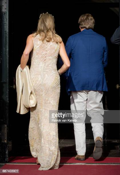 King WillemAlexander and Queen Maxima of The Netherlands arrive for the gala dinner for the Corps Diplomatic at the Royal Palace on May 23 2017 in...