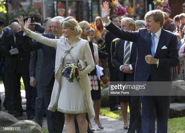 King WillemAlexander and Queen Maxima of The Netherlands arrive in Groningen for a one day visit to Groningen and Drenthe provinces at Martinikerkhof...