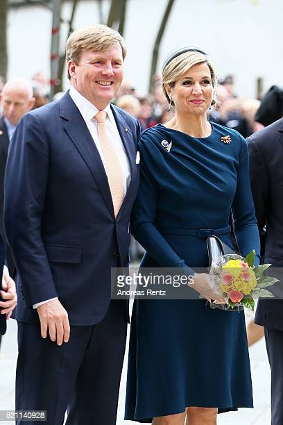 King WillemAlexander and Queen Maxima of the Netherlands during their visit at 'Memorium Nuernberger Prozesse' on April 14 2016 in Nuremberg Germany...