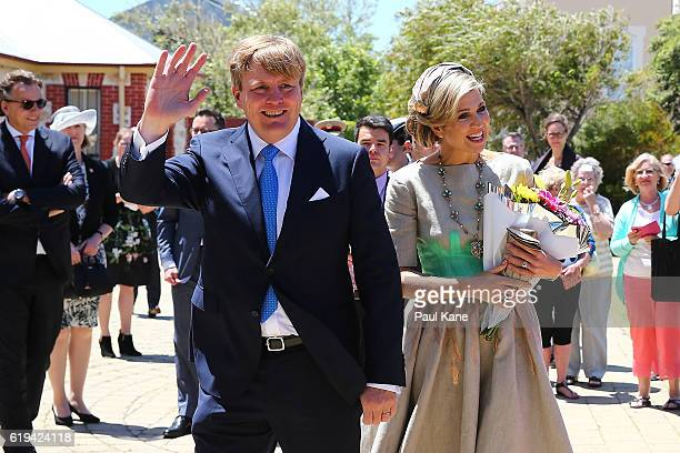 King WillemAlexander and Queen Maxima of the Netherlands greet well wishers on arrival at the Shipwreck Galleries on October 31 2016 in Fremantle...