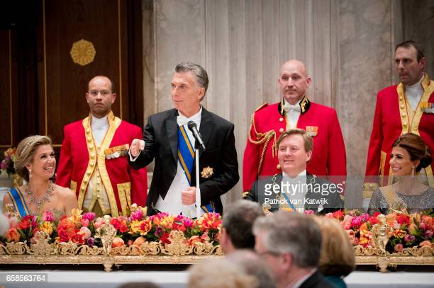 King WillemAlexander and Queen Maxima of The Netherlands host an state banquet for President Mauricio Macri of Argentine and his wife Juliana Awada...