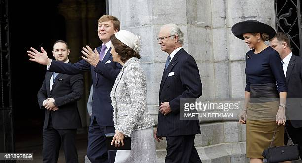 King WillemAlexander and Queen Maxima of the Netherlands leave a presentation of the book 'The Swedes and the Dutch were made for each other' edited...