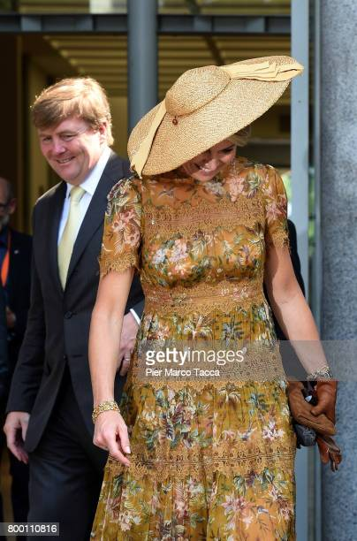 King WillemAlexander and Queen Maxima of The Netherlands leave Palazzo della Triennale on June 23 2017 in Milan Italy