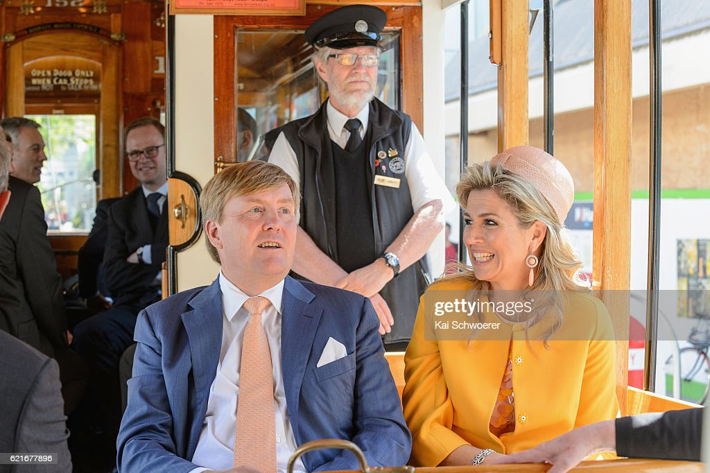 King Willem-Alexander and Queen Maxima of the Netherlands look on during a tram ride on November 8, 2016 in Christchurch, New Zealand. The Dutch King and Queen are on a three-day tour of New Zealand, visiting Wellington, Christchurch and Auckland.