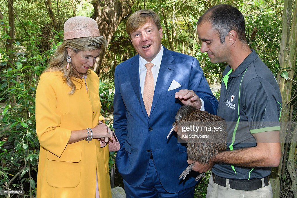 King Willem-Alexander and Queen Maxima of the Netherlands meet a Kiwi named Elvis during a visit to Willowbank Wildlife Reserve on November 8, 2016 in Christchurch, New Zealand. The Dutch King and Queen are on a three-day tour of New Zealand, visiting Wellington, Christchurch and Auckland.
