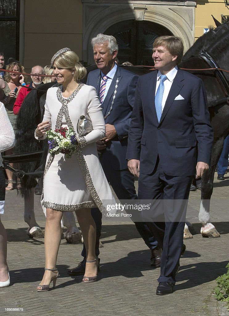 King Willem-Alexander and Queen Maxima of The Netherlands participate in activities during thei one day visit to Groningen and Drenthe provinces at Leek on May 28, 2013 in Leek, Netherlands.