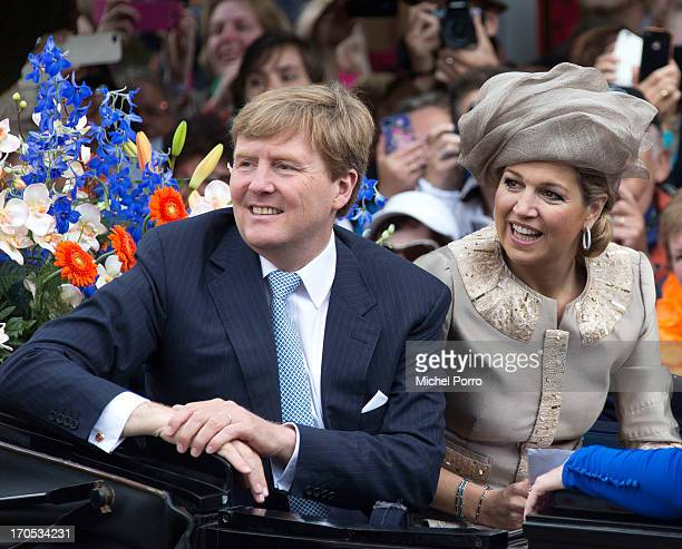 King WillemAlexander and Queen Maxima of the Netherlands participate in activities during an official visit to downtown Joure on June 14 2013 in...