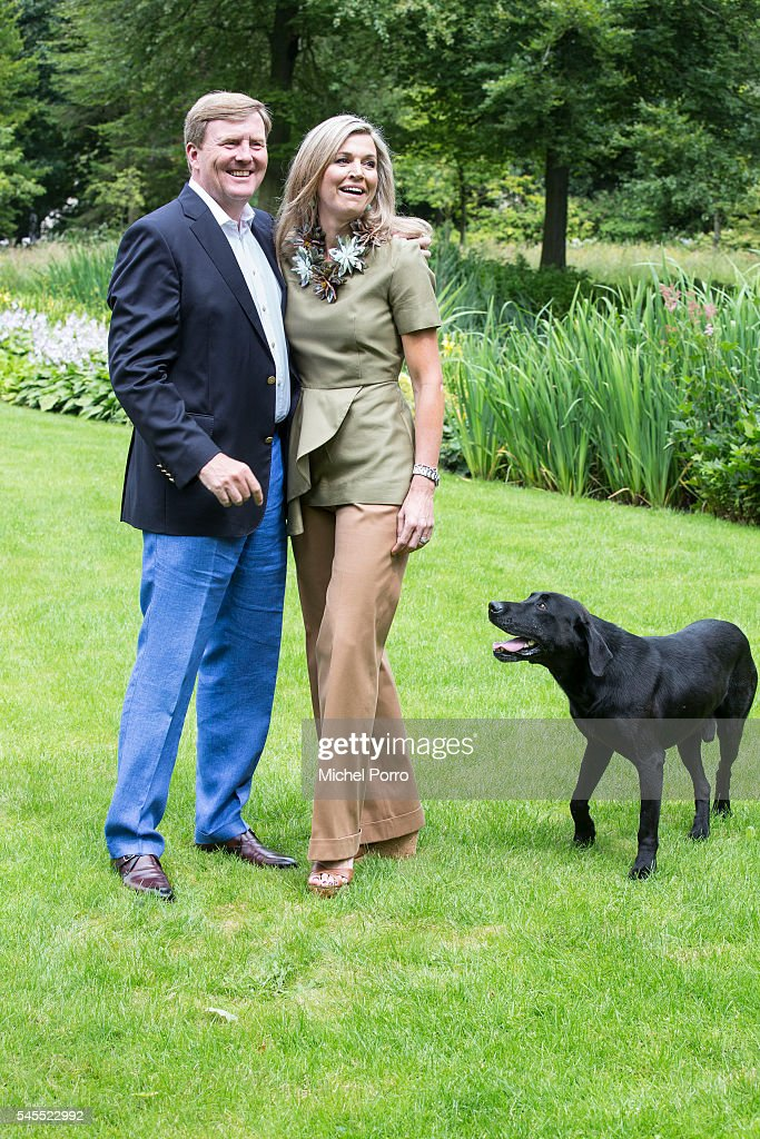 King Willem-Alexander and Queen Maxima of The Netherlands pose for pictures during the annual summer photo call at their residence Villa Eikenhorst on July 8, 2016 in Wassenaar, Netherlands.