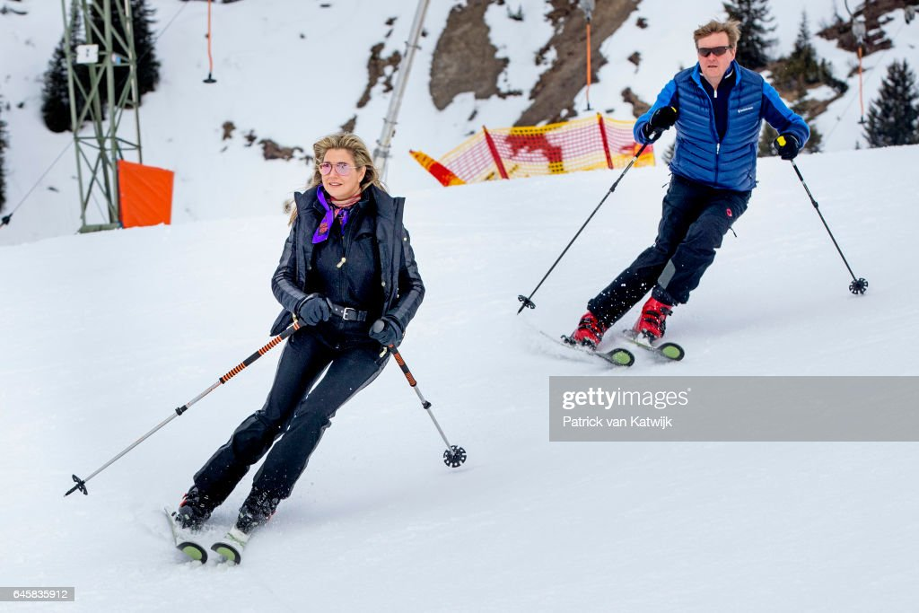 King Willem-Alexander and Queen Maxima of The Netherlands pose for the media during their annual wintersport holidays on February 27, 2017 in Lech, Austria.