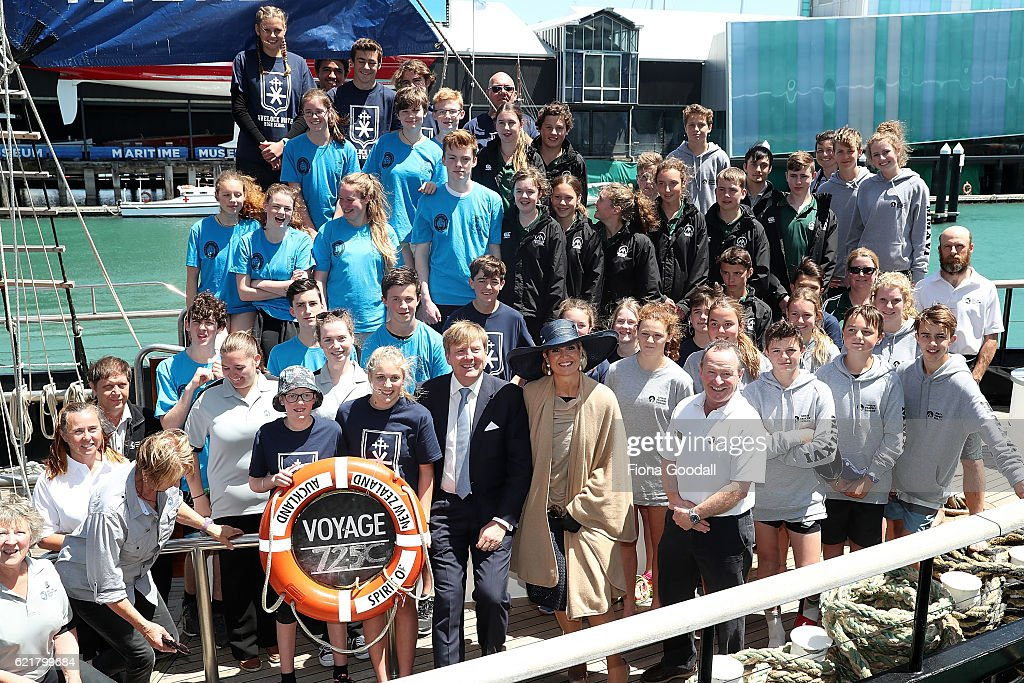 King Willem-Alexander and Queen Maxima of The Netherlands (C) pose with staff and students on their visit to the Spirit of New Zealand Youth Training Vessel at Princes Wharf on November 9, 2016 in Auckland, New Zealand. The Dutch King and Queen are on a three-day tour of New Zealand, visiting Wellington, Christchurch and Auckland.