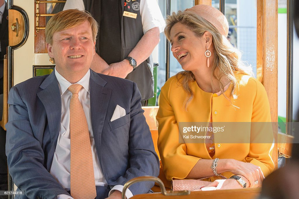 King Willem-Alexander and Queen Maxima of the Netherlands reacting during a tram ride on November 8, 2016 in Christchurch, New Zealand. The Dutch King and Queen are on a three-day tour of New Zealand, visiting Wellington, Christchurch and Auckland.