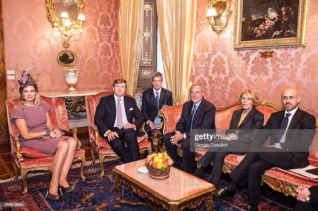 <a gi-track='captionPersonalityLinkClicked' href=/galleries/search?phrase=King+Willem-Alexander&family=editorial&specificpeople=160214 ng-click='$event.stopPropagation()'>King Willem-Alexander</a> (CL) and Queen Maxima of the Netherlands seat for a meeting with Italian President of Senate Pietro Grasso (CR) and his wife Maria Fedele as they arrive at Palazzo Giustiniani on January 23, 2014 in Rome, Italy. The Dutch Royals are in Rome for a one day visit.