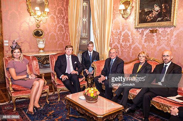 King WillemAlexander and Queen Maxima of the Netherlands seat for a meeting with Italian President of Senate Pietro Grasso and his wife Maria Fedele...