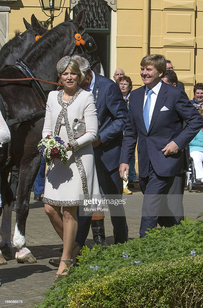 King Willem-Alexander and Queen Maxima of The Netherlands take part in activities while visiting Leek during a one day visit to Groningen and Drenthe provinces on May 28, 2013 in Leek, Netherlands.