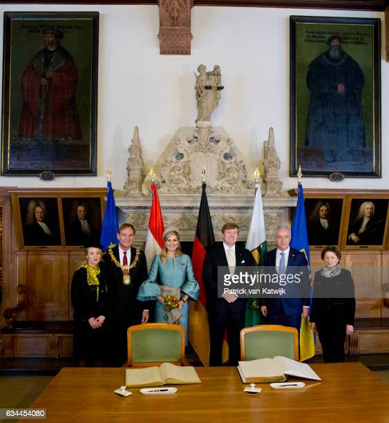 King WillemAlexander and Queen Maxima of The Netherlands visit Prime Minister Tillich in the Altes Rathuis during their 4 day visit to Germany on...