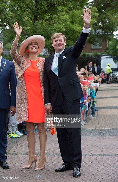King WillemAlexander and Queen Maxima of The Netherlands visit the community center during their regional tour of north west Friesland province on...