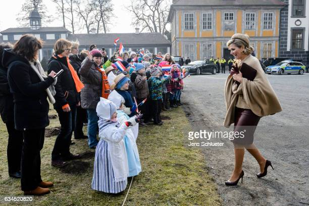 King WillemAlexander and Queen Maxima of the Netherlands visit the castle Oranienbaum on February 10 2017 in Oranienbaum Germany The royal couple...