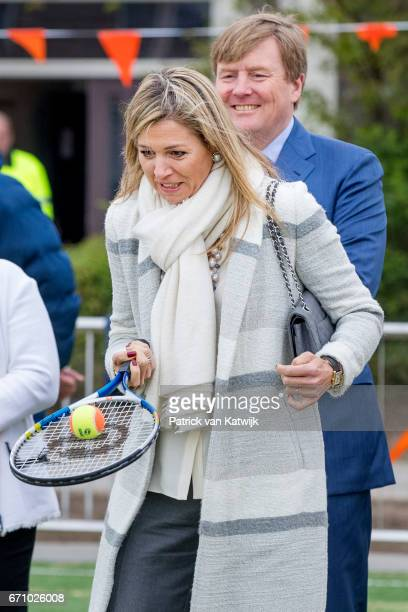 King WillemAlexander and Queen Maxima of The Netherlands visit the King's Games youth sport day at De Vijfmaster school on April 21 2017 in Veghel...