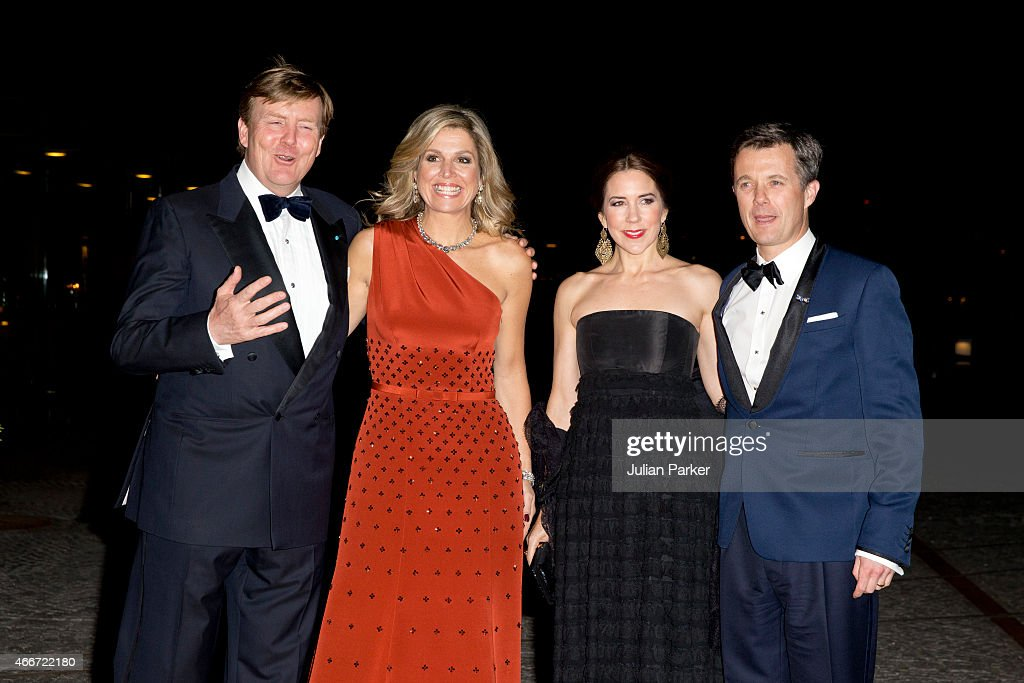 King Willem-Alexander, and Queen Maxima of the Netherlands with Crown Princess Mary, and Crown Prince Frederik of Denmark at The Black Diamond in Copenhagen where King Willem-Alexander, and Queen Maxima of the Netherlands host a return arrangement, during their State visit to Denmark, on March 18, 2015 in Copenhagen, Denmark.
