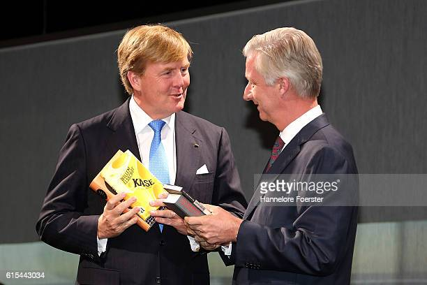 King WillemAlexander of Netherlands and King Philippe of Belge at the opening ceremony of the 2016 Frankfurt Book Fair on October 18 2016 in...