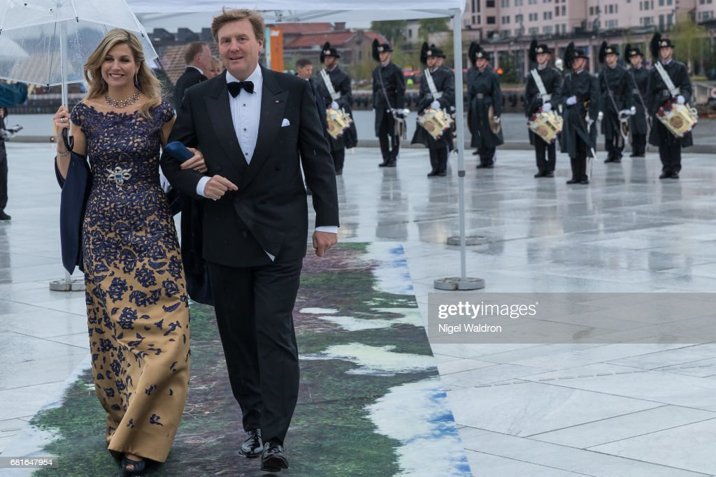 King Willem-Alexander of Netherlands and Queen Maxima of Netherlands arrives at the Opera House on the occasion of the celebration of King Harald and Queen Sonja of Norway 80th birthdays on May 10 2017 in Oslo, Norway.