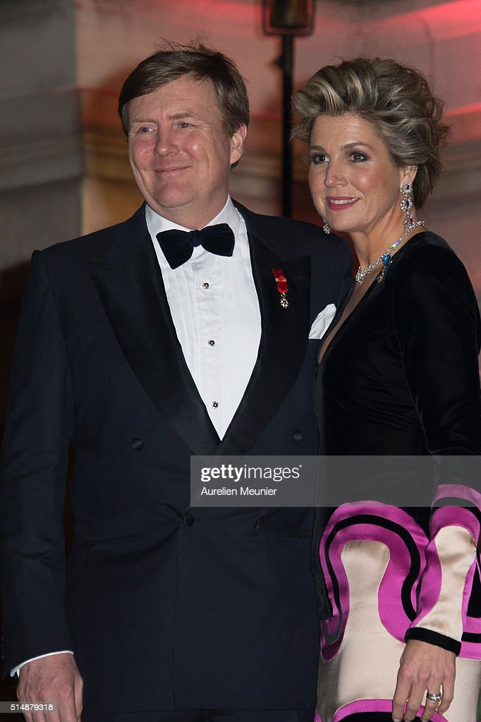 King Willem-Alexander of the Netherlands and Queen Maxima arrive to a reception given by King Willem-Alexander of the Netherlands and Queen Maxima in honor of the French President Francois Hollande at Le Petit Palais on March 11, 2016 in Paris, France. Queen Maxima and King Willem-Alexander of The Netherlands are on a two-day state visit in France