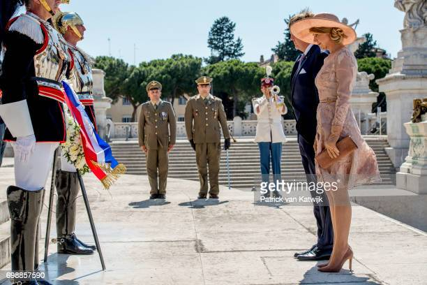 King WillemAlexander of The Netherlands and Queen Maxima of The Netherlands attend a commemoration ceremony and lay down a wreath at the Altare della...