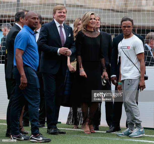 King WillemAlexander of the Netherlands and Queen Maxima of the Netherlands attend a football clinic for integration organized by Italian Football...
