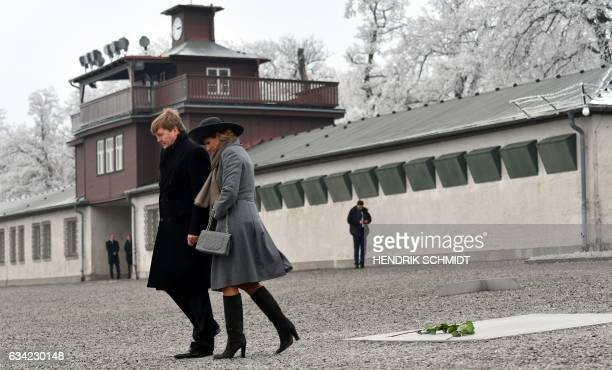 King WillemAlexander of the Netherlands and Queen Maxima of the Netherlands are seen after they laid roses at the Buchenwald memorial on the grounds...