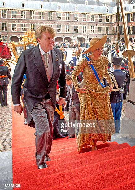 King WillemAlexander of The Netherlands and Queen Maxima of The Netherlands arrive at the Ridderzaal during celebrations for Prinsjesdag on September...