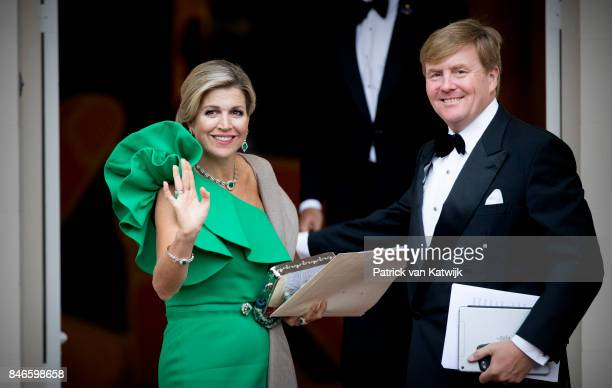King WillemAlexander of The Netherlands and Queen Maxima of The Netherlands arrive at Noordeinde Palace for the gala in honor of the Raad van State...