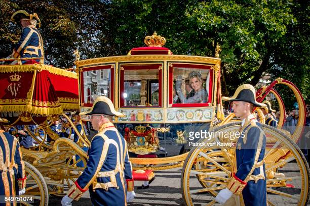 King WillemAlexander of The Netherlands and Queen Maxima of The Netherlands arrive at palace Noordeinde with the Glass Coach during Prinsjesdag on...