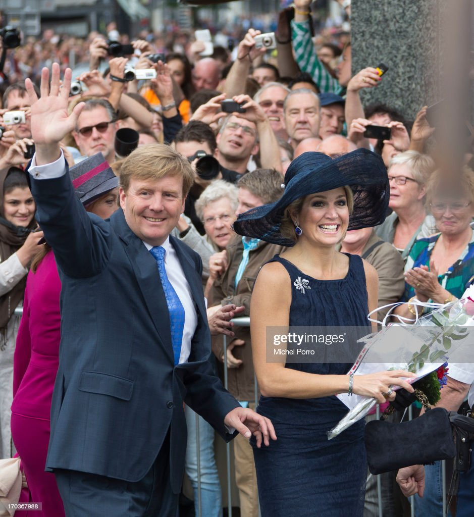King Willem-Alexander of the Netherlands and Queen Maxima of The Netherlands participate in activities at Heerlen Pancratius Square during their visit to the provinces Limburg and Brabant on June 12, 2013 in Heerlen, Netherlands.