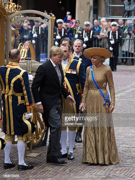 King WillemAlexander of The Netherlands and Queen Maxima of The Netherlands arrive in the Golden Chariot during celebrations for Prinsjesdag on...