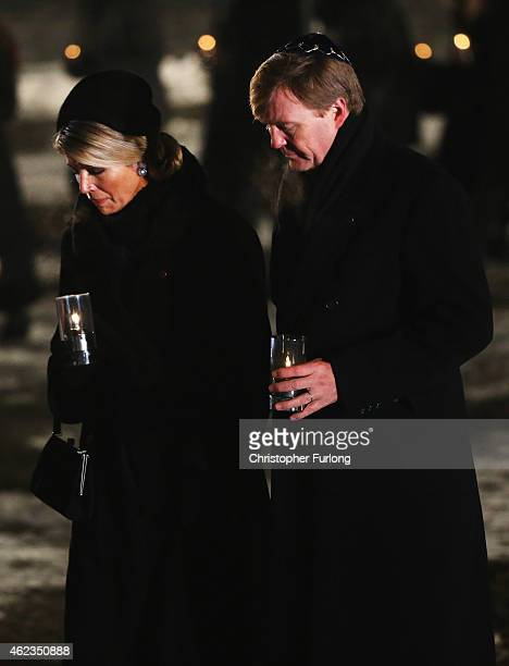 King WillemAlexander of The Netherlands and Queen Maxima of The Netherlands lay candles at the Birkenau Memorial during the commemoration of the 70th...