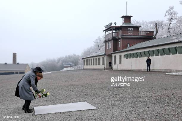 King WillemAlexander of the Netherlands and Queen Maxima of the Netherlands lay white roses to pay tribute of the victims at the Buchenwald memorial...