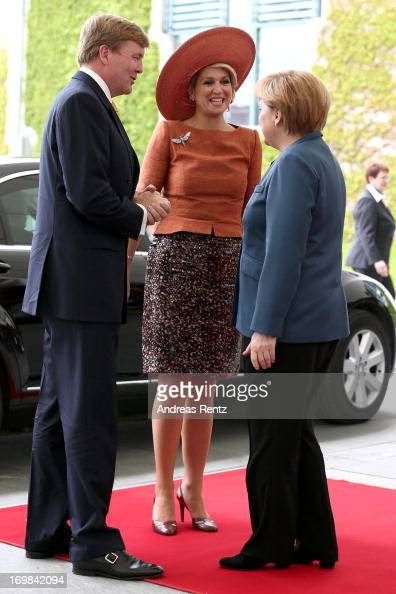 King WillemAlexander of The Netherlands and Queen Maxima of The Netherlands meet german Chancellor Angela Merkel at Chancellery on June 3 2013 in...