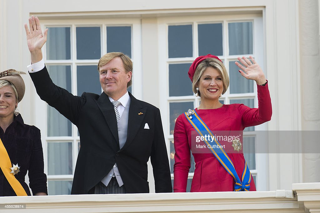King Willem-Alexander of the Netherlands and Queen Maxima of the Netherlands on the balcony of The Noordeinde Palace during Princes day celebrations on September 16, 2014 in The Hague, Netherlands.
