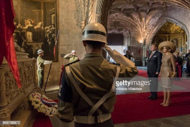 King WillemAlexander of The Netherlands and Queen Maxima of The Netherlands pay homage to Luis Vaz de Camoes Portugal's and the Portuguese language's...