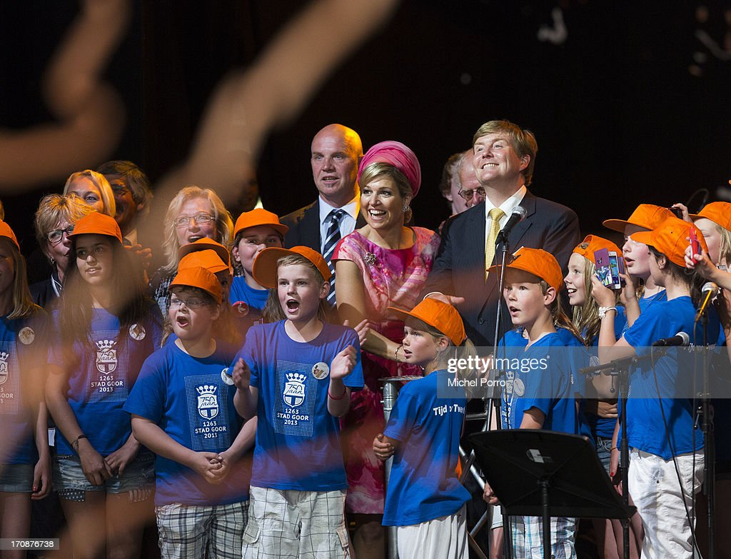 King Willem-Alexander of The Netherlands and Queen Maxima of The Netherlands officially kick off the 750 anniversary celebrations of the town during an official visit to the town centre on June 19, 2013 in Goor, Netherlands.