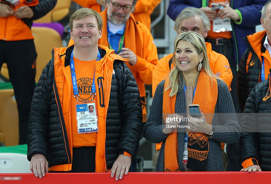 <a gi-track='captionPersonalityLinkClicked' href=/galleries/search?phrase=King+Willem-Alexander&family=editorial&specificpeople=160214 ng-click='$event.stopPropagation()'>King Willem-Alexander</a> of the Netherlands and Queen Maxima of the Netherlands congratulate medalists after the Men's 500 m Race x of 2 Speed Skating event during day 3 of the Sochi 2014 Winter Olympics at Adler Arena Skating Center on February 10, 2014 in Sochi, Russia.