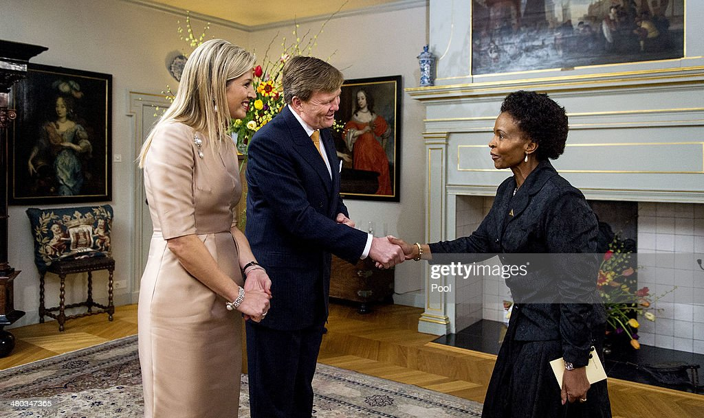 <a gi-track='captionPersonalityLinkClicked' href=/galleries/search?phrase=King+Willem-Alexander&family=editorial&specificpeople=160214 ng-click='$event.stopPropagation()'>King Willem-Alexander</a> of The Netherlands and Queen Maxima of The Netherlands greet South African Minister of International Relations and Cooperation <a gi-track='captionPersonalityLinkClicked' href=/galleries/search?phrase=Maite+Nkoana-Mashabane&family=editorial&specificpeople=3056332 ng-click='$event.stopPropagation()'>Maite Nkoana-Mashabane</a> at the Royal Palace Huis ten Bosch on March 24, 2014 in The Hague, Netherlands. The Nuclear Security Summit, held March 24-25, will be attended by world leaders and is aimed at preventing nuclear terrorism.