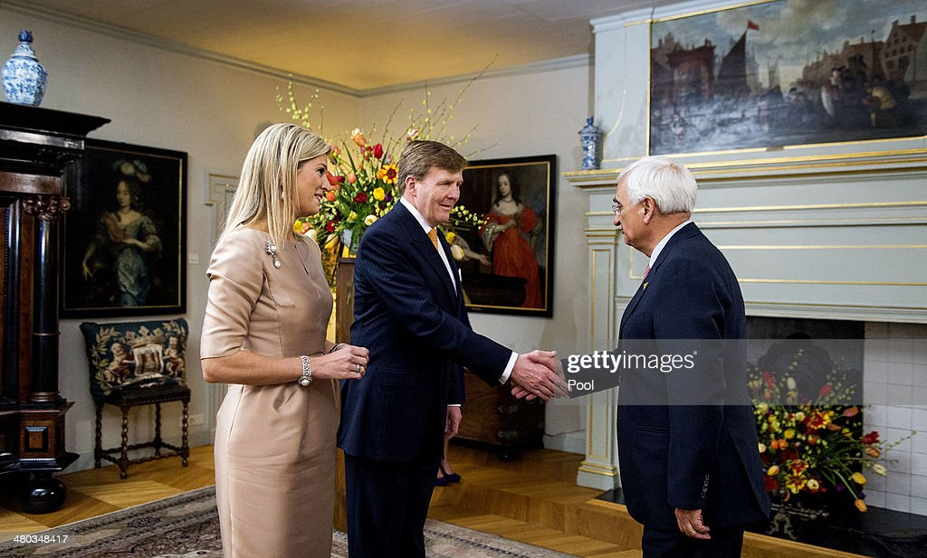 King Willem-Alexander of The Netherlands and Queen Maxima of The Netherlands greet Indian Minister of Foreign Affairs <a gi-track='captionPersonalityLinkClicked' href=/galleries/search?phrase=Salman+Khurshid&family=editorial&specificpeople=2570174 ng-click='$event.stopPropagation()'>Salman Khurshid</a> at the Royal Palace Huis ten Bosch on March 24, 2014 in The Hague, Netherlands. The Nuclear Security Summit, held March 24-25, will be attended by world leaders and is aimed at preventing nuclear terrorism.