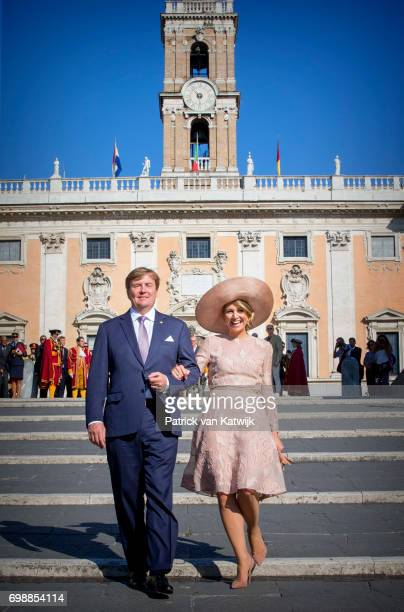 King WillemAlexander of The Netherlands and Queen Maxima of The Netherlands visit mayor Virginia Raggi at Campidoglio during the first day of a royal...